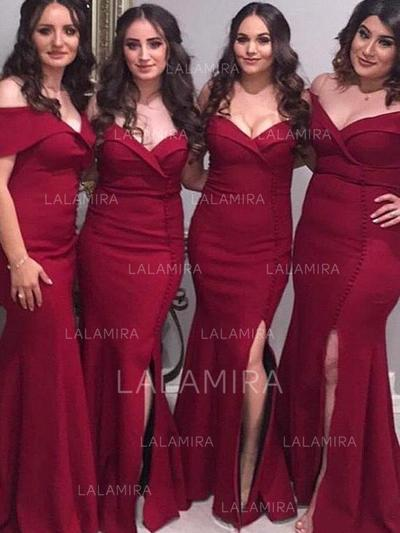 Trumpet/Mermaid Off-the-Shoulder - Satin Bridesmaid Dresses (007217803)