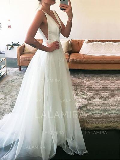 Magnificent Deep V Neck A-Line/Princess Wedding Dresses Floor-Length Sweep Train Tulle Sleeveless (002148245)