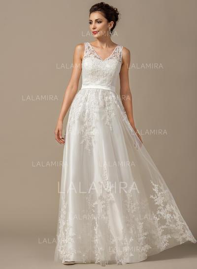 Tule Vestidos princesa/ Formato A Longos Coração Vestidos de noiva (002211526)