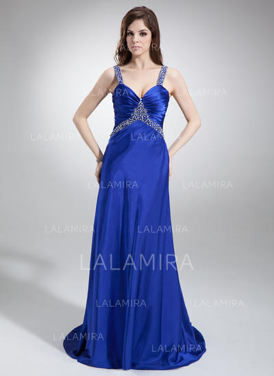 A-Line/Princess Sleeveless Ruffle Beading Charmeuse Prom Dresses (018002831)