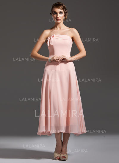 A-Line/Princess Chiffon Bridesmaid Dresses Bow(s) Strapless Sleeveless Tea-Length (007001749)
