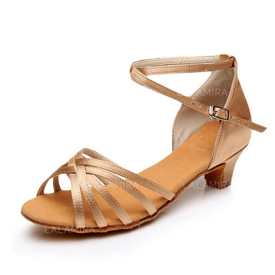 Women's Latin Heels Sandals Satin With Ankle Strap Dance Shoes (053180276)
