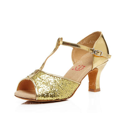De mujer Danza latina Tacones Sandalias Cuero con Tira T Zapatos de danza (053056765)