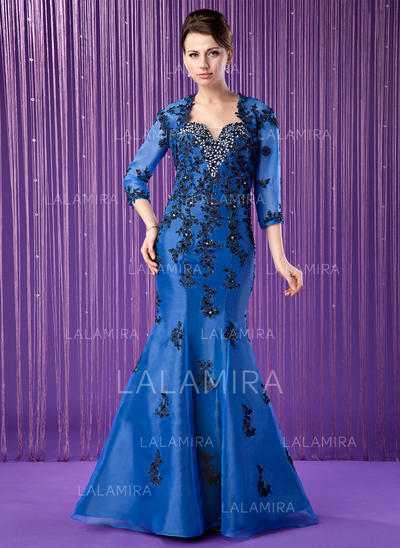 Trumpet/Mermaid Organza Sleeveless Sweetheart Floor-Length Zipper Up Mother of the Bride Dresses (008213163)