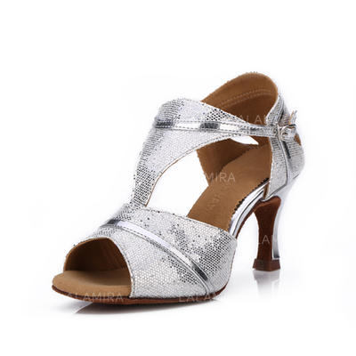 Women's Latin Heels Sandals Sparkling Glitter With Buckle Dance Shoes (053178361)