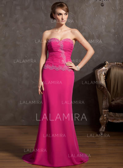 Fashion Chiffon A-Line/Princess Zipper Up Evening Dresses (017014848)