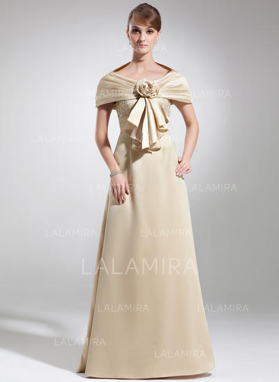 Lace Scoop Neck Beautiful Satin Mother of the Bride Dresses (008005934)