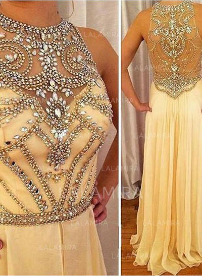 A-Line/Princess Scoop Neck Floor-Length Prom Dresses With Beading (018212224)
