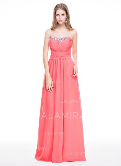 Chiffon Strapless Sweetheart A-Line/Princess Prom Dresses (018056797)