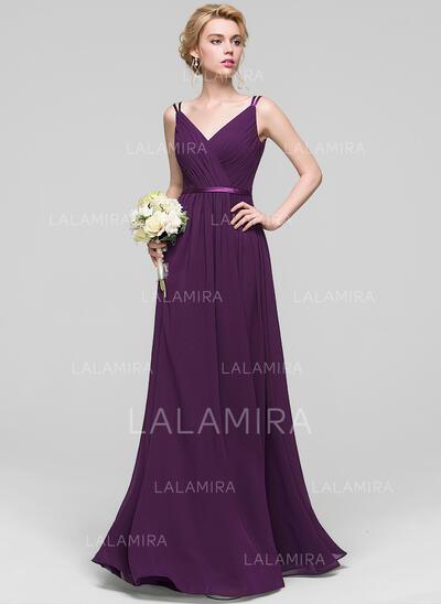 Corte A Decote V Longos Tecido de seda Vestido de baile com Pregueado (018112690)