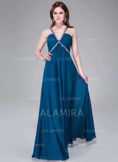 Floor-Length Chiffon Empire V-neck Prom Dresses (018041049)