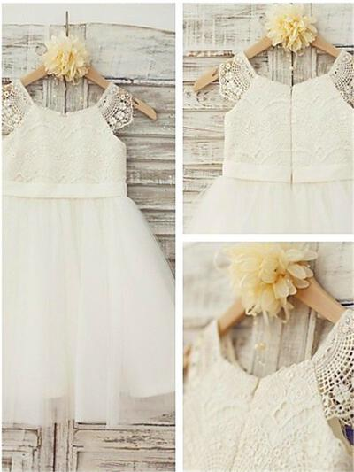 Scoop Neck A-Line/Princess Flower Girl Dresses Tulle/Lace Lace Sleeveless Knee-length (010211782)