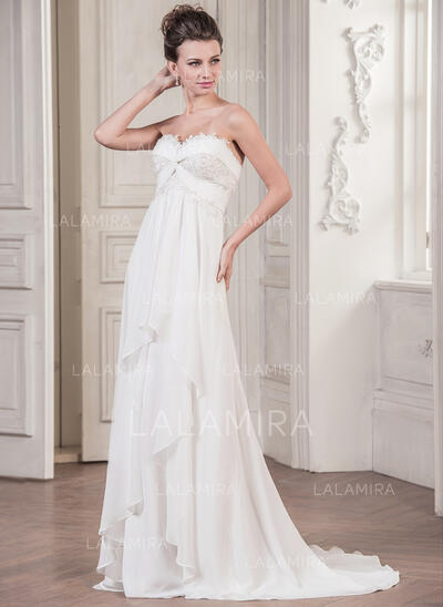 Forme Princesse Amoureux Balayage/Pinceau train Mousseline Robe de mariée avec Motifs appliqués Dentelle Robe à volants (002059183)