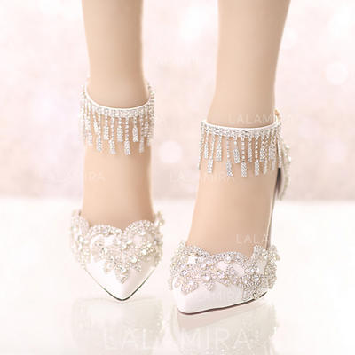 Women's Closed Toe Pumps Stiletto Heel Leatherette With Rhinestone Wedding Shoes (047208346)