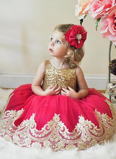 Scoop Neck A-Line/Princess Flower Girl Dresses Tulle/Sequined Sash Sleeveless Knee-length (010216402)