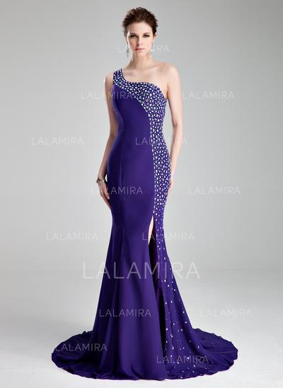 Luxueux avec Forme Sirène/Trompette Mousseline Robes de bal (018019007)