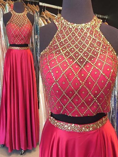 Halter Satin A-Line/Princess Elegant Prom Dresses (018210348)