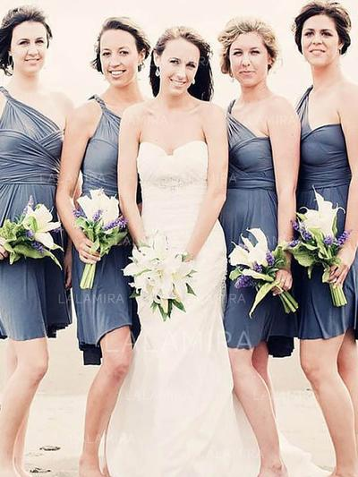 One-Shoulder Sleeveless Chiffon Newest Bridesmaid Dresses (007218571)