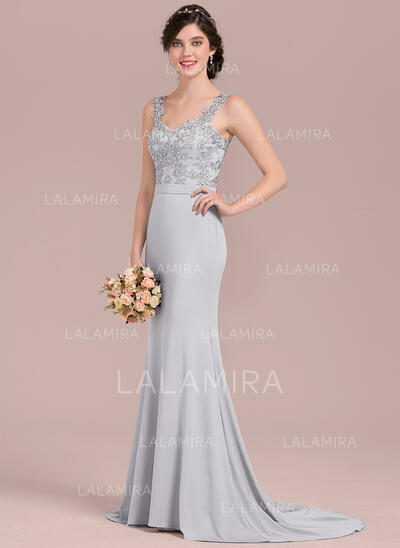 Trumpet/Mermaid Sweetheart Sweep Train Lace Jersey Evening Dress With Beading Sequins (017144995)