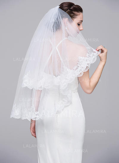 Elbow Bridal Veils Tulle Two-tier Classic With Lace Applique Edge Wedding Veils (006151846)