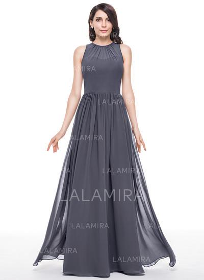 Scoop Neck A-Line/Princess Chiffon Sleeveless Bridesmaid Dresses (007198651)