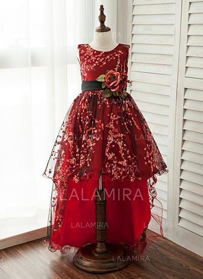 Corte A/Princesa Hasta la rodilla/Asimétrico Vestidos de Niña Florista - Encaje Sin mangas Escote redondo (010125812)