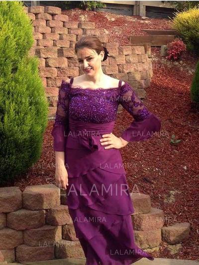 Vestidos princesa/ Formato A Decote quadrado Tecido de seda Sexy Vestidos para a mãe da noiva (008212761)