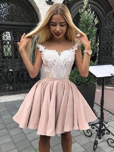 A-Line/Princess Off-the-Shoulder Short/Mini Homecoming Dresses With Appliques (022219306)