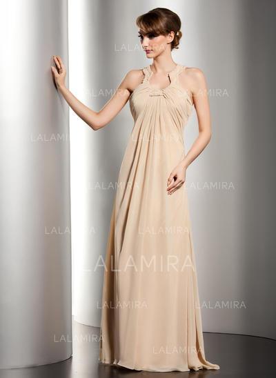 Elegante Hasta el suelo Corte imperial Gasa Vestidos de madrina (008211060)