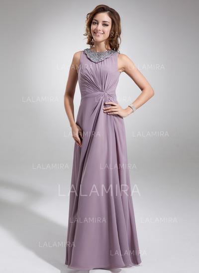 Vakker Chiffong Scoop Hals A-formet/Prinsesse Kjoler til Brudens Mor (008006217)