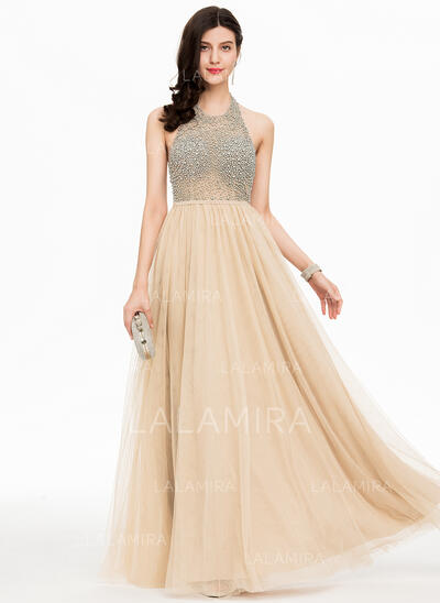 A-Line/Princess Halter Floor-Length Tulle Prom Dresses With Beading (018156779)