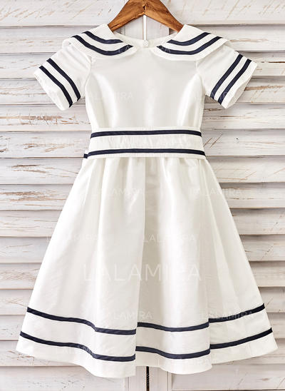 Modern Peter Pan Collar A-Line/Princess Flower Girl Dresses Tea-length Taffeta Short Sleeves (010210132)