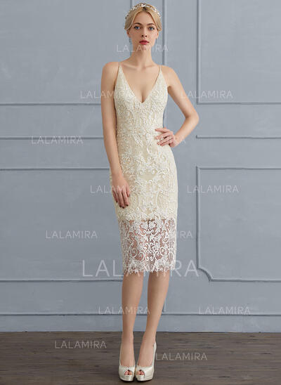 Sheath/Column V-neck Knee-Length Lace Wedding Dress (002124269)