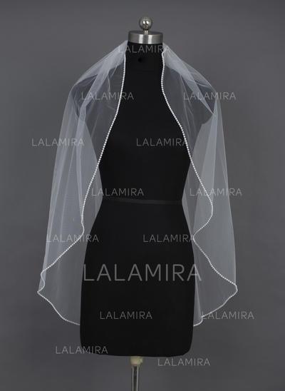 Fingertip Bridal Veils Tulle One-tier Oval/Mantilla With Beaded Edge Wedding Veils (006151029)