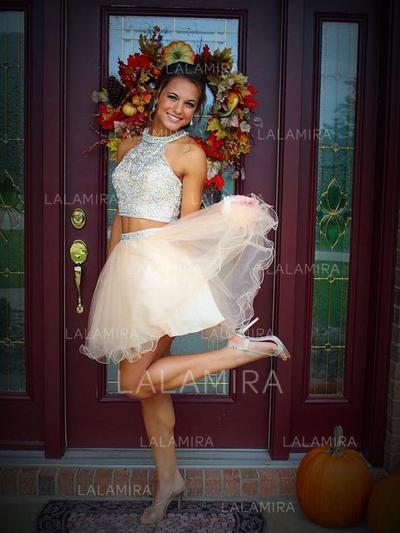 Stunning Tulle Homecoming Dresses A-Line/Princess Detachable Scoop Neck Sleeveless (022212259)