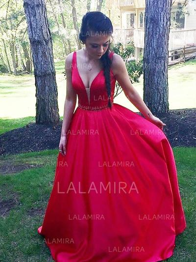 Superbe Col V Forme Princesse Sans manches Satiné Robes de bal (018217365)