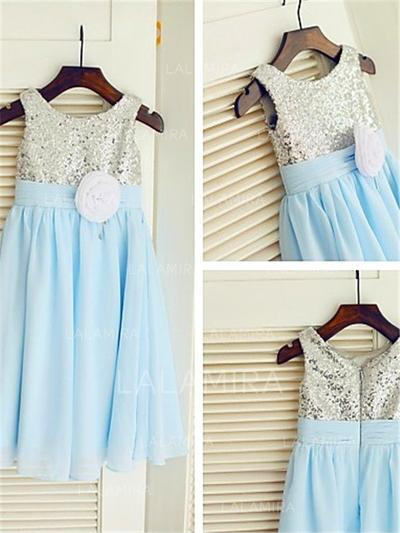 Scoop Neck A-Line/Princess Flower Girl Dresses Flower(s) Sleeveless Ankle-length (010212001)