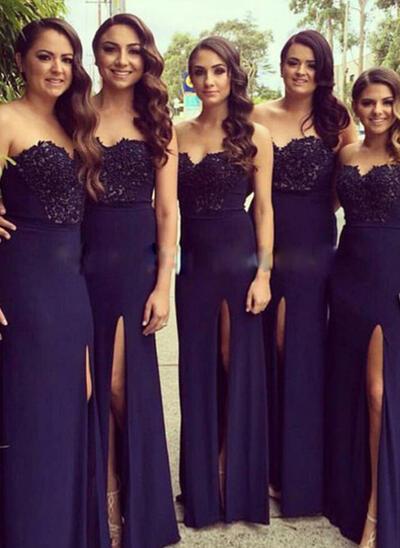 A-Line/Princess Sleeveless Sweetheart Chiffon Lace Bridesmaid Dresses (007144978)