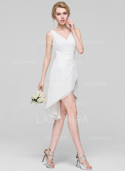A-Line V-neck Asymmetrical Chiffon Bridesmaid Dress (007090174)