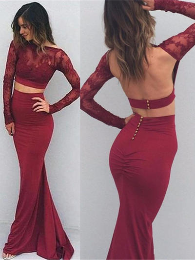 Luxurious Jersey Evening Dresses Trumpet/Mermaid Floor-Length Long Sleeves (017216495)