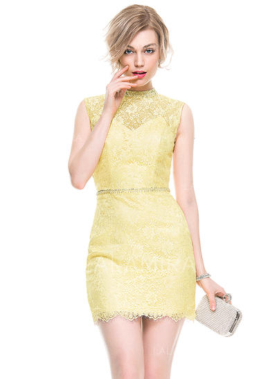 Newest Sheath/Column High Neck Lace Cocktail Dresses (016077869)