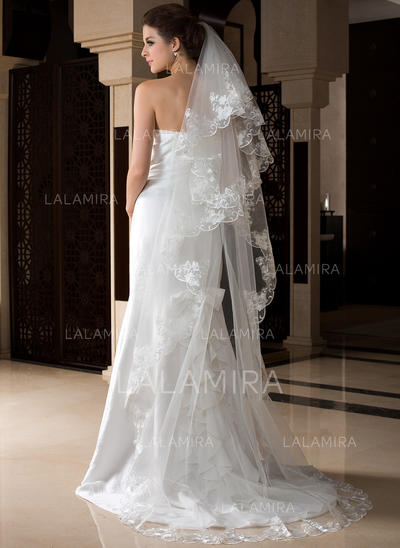 Cathedral Bridal Veils Tulle One-tier Drop Veil With Lace Applique Edge Wedding Veils (006151520)