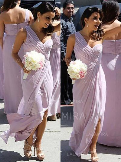 A-Line/Princess Chiffon Bridesmaid Dresses Ruffle One-Shoulder Sleeveless Floor-Length (007211580)