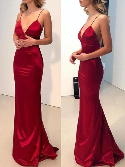Spaghetti Straps Satin V-neck Sheath/Column Prom Dresses (018218092)