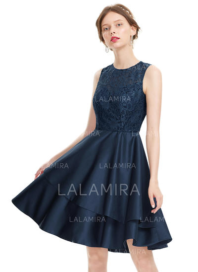 Satin Regular Straps A-Line/Princess Scoop Neck Homecoming Dresses (022214143)