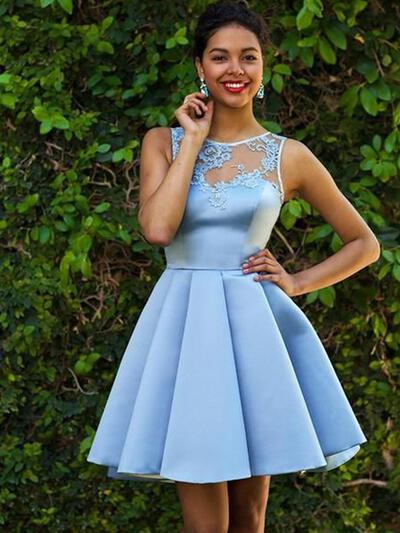 Appliques A-Line/Princess Short/Mini Satin Homecoming Dresses (022216284)