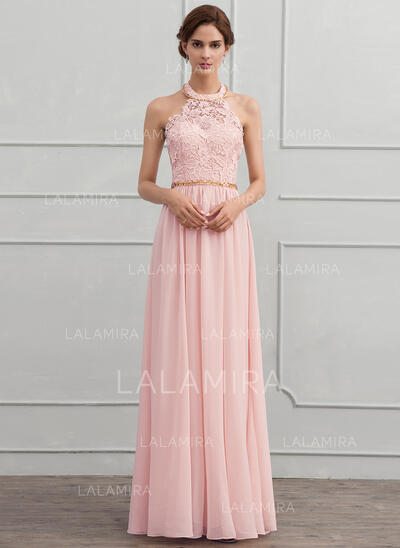 A-Line/Princess Halter Floor-Length Chiffon Evening Dress With Beading (017116324)