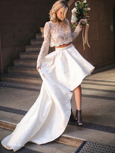 Corte A/Princesa Satén - Hermoso Vestidos de novia (002213526)