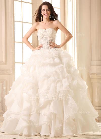 corazón corte de baile vestidos de novia organdí encaje cuentas