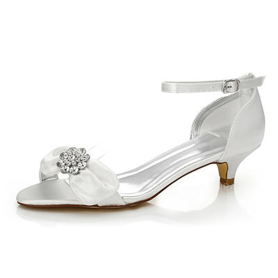 Women's Sandals Dyeable Shoes Low Heel Satin With Bowknot Rhinestone Wedding Shoes (047205952)
